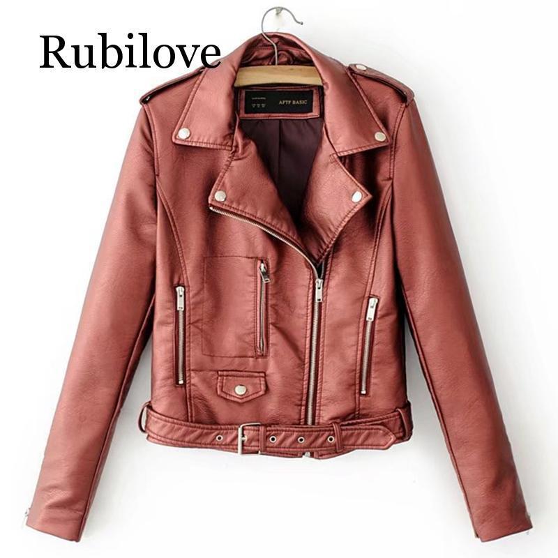 Рубиловская осенняя женская кожаная куртка с асимметричной молнией по-корейски из искусственного пальто и пиджаки