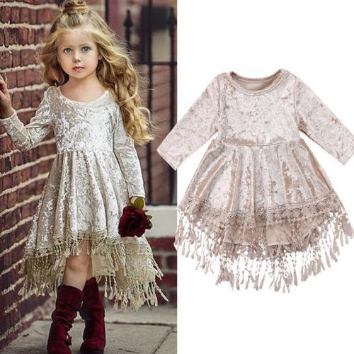 2018 Свадебное платье Cute Kids Baby Girl платье Velvet кисточкой платье вечернее платье Размер 1-5T