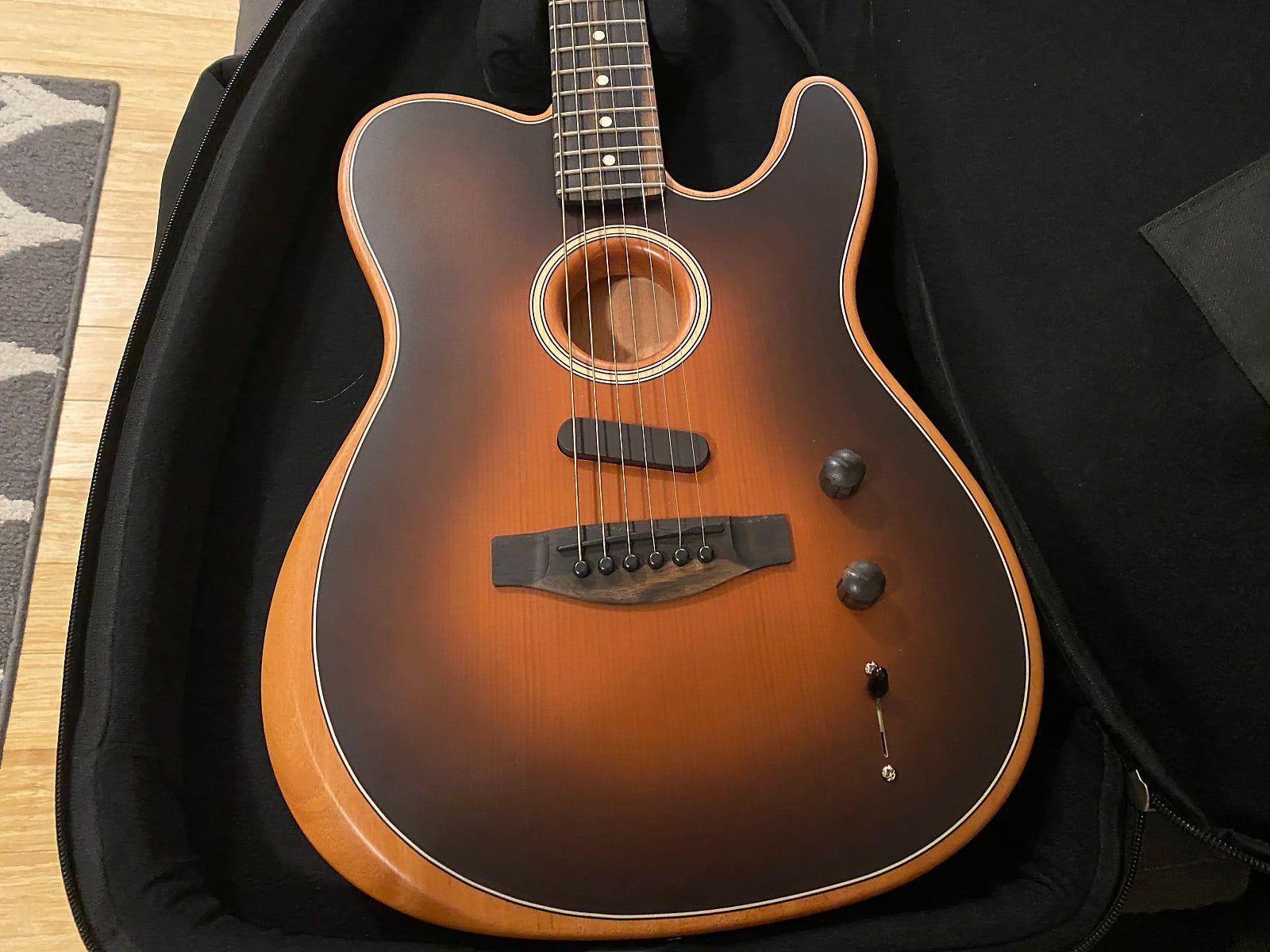 Custom Shop Acoustasonic Tele Sunburst الغيتار الكهربائي البوليستر الساتان ماتي النهاية، تحفيز أعلى، عميق c الماهوجني الرقبة، أجهزة الكروم