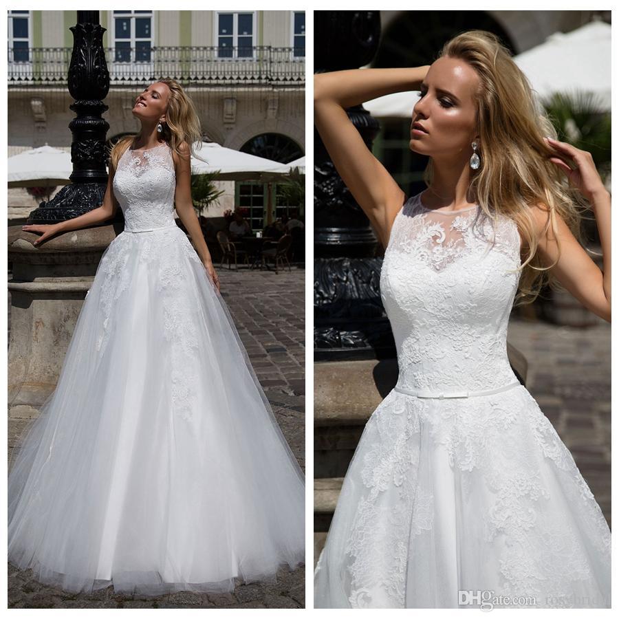 Discount 2019 Elegent A Line Jewel Collar Applique Wedding
