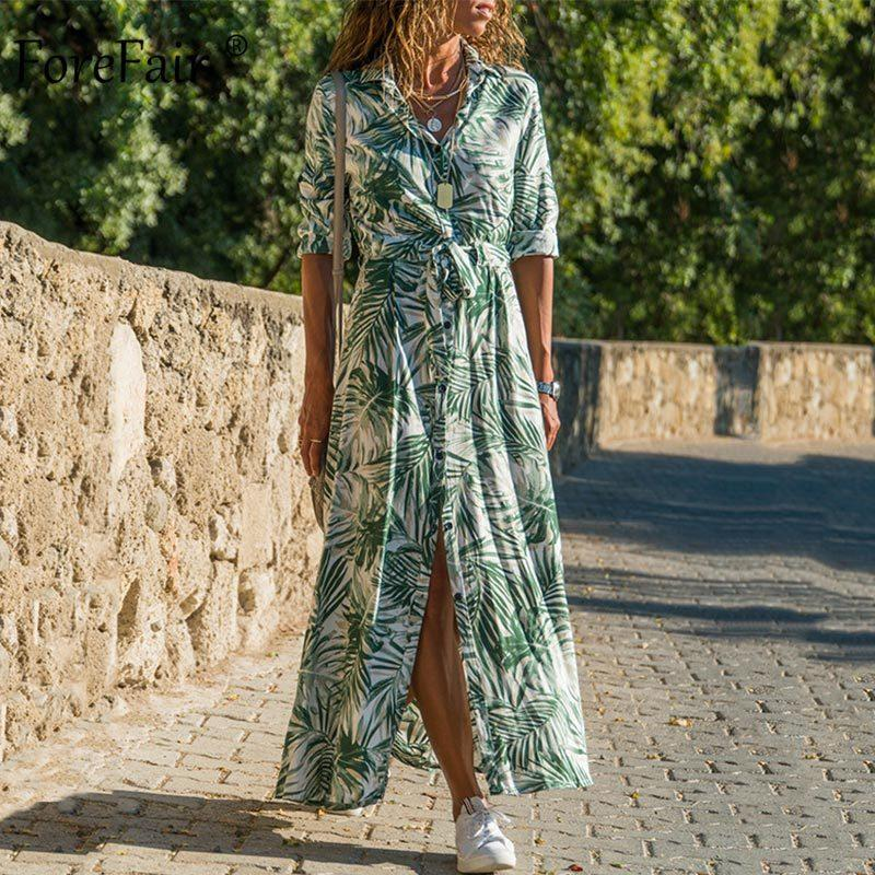 Forefair Beach vestito da boho floreale stampato vita del legame di vacanza estiva a maniche lunghe in chiffon Plus Size Slim Maxi vestito casuale delle donne