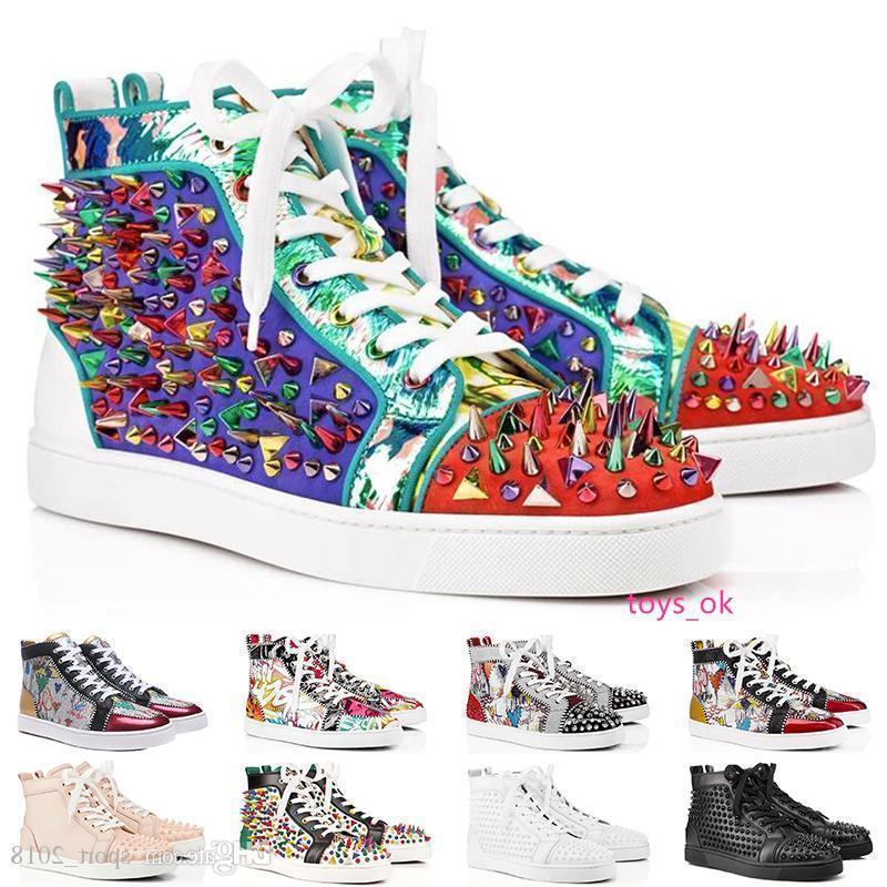 2019 Mode De Luxe Designer Pour Hommes Femmes Rouge Bas Chaussures cloutés pointes Plat sneakers glitter partie en cuir véritable casual rivet chaussures