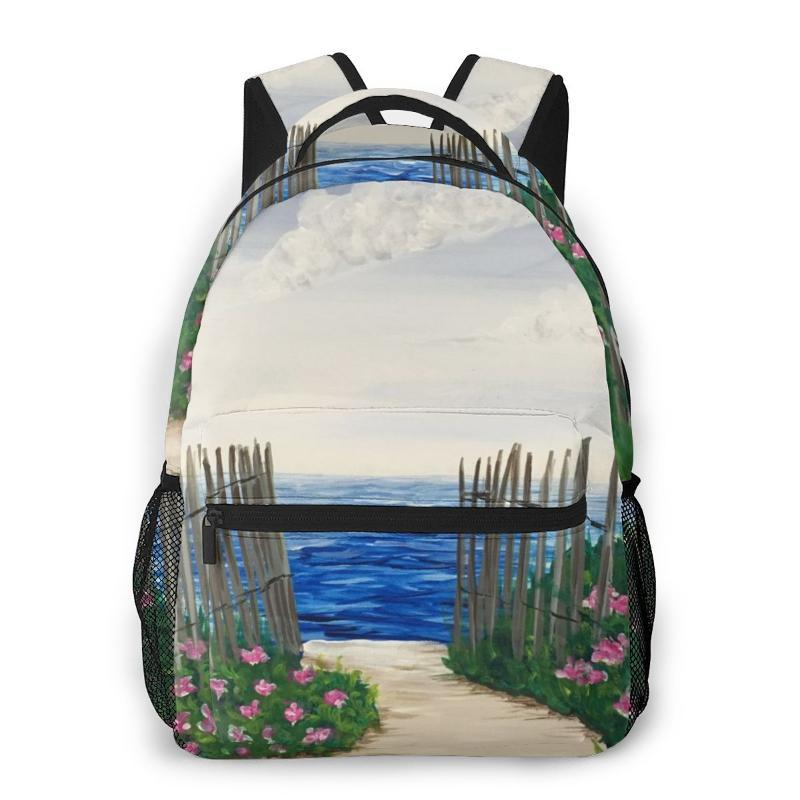 Bookbags ранцы для мальчиков-подростков Пляж Забор Drawing Дорожные сумки Baby Boy Школьные рюкзаки