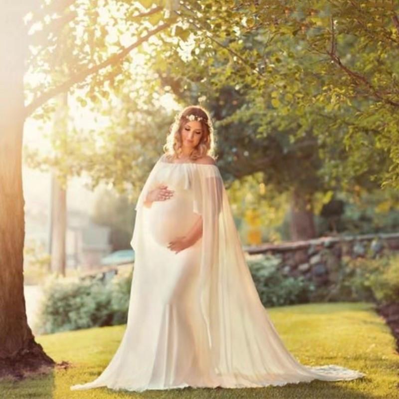 عالية الجودة الشيفون شال اللباس الأمومة التصوير الفوتوغرافي الدعائم ثوب الحمل Shoulderless الأمومة فساتين للوالتقطت الصور 2020