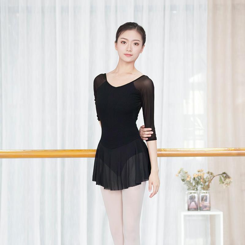 2020 Los leotardos de ballet para las mujeres Gimnasia Leotardo Negro danza Leotardo con acoplamiento suave falda de algodón salón de baile del traje del ballet
