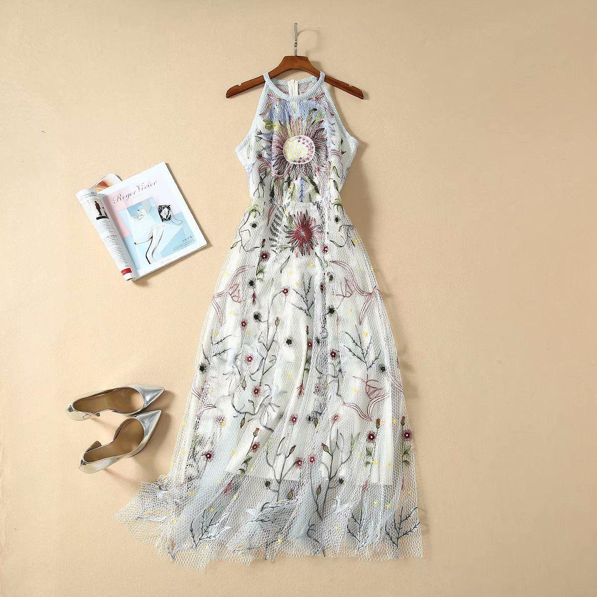 Европейские и американские женской одежды весна 2020 новый стиль Тяжелые сетки вышивки рукавов платье