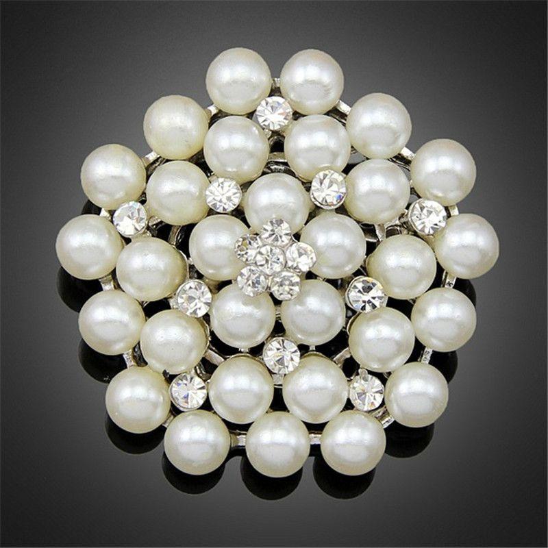 Nuevo Vintage Silver Gold Multi-Beads Pin Pin Brooch Dama de honor Girl Clear Rhinestone Petal Flower Corsage para la boda