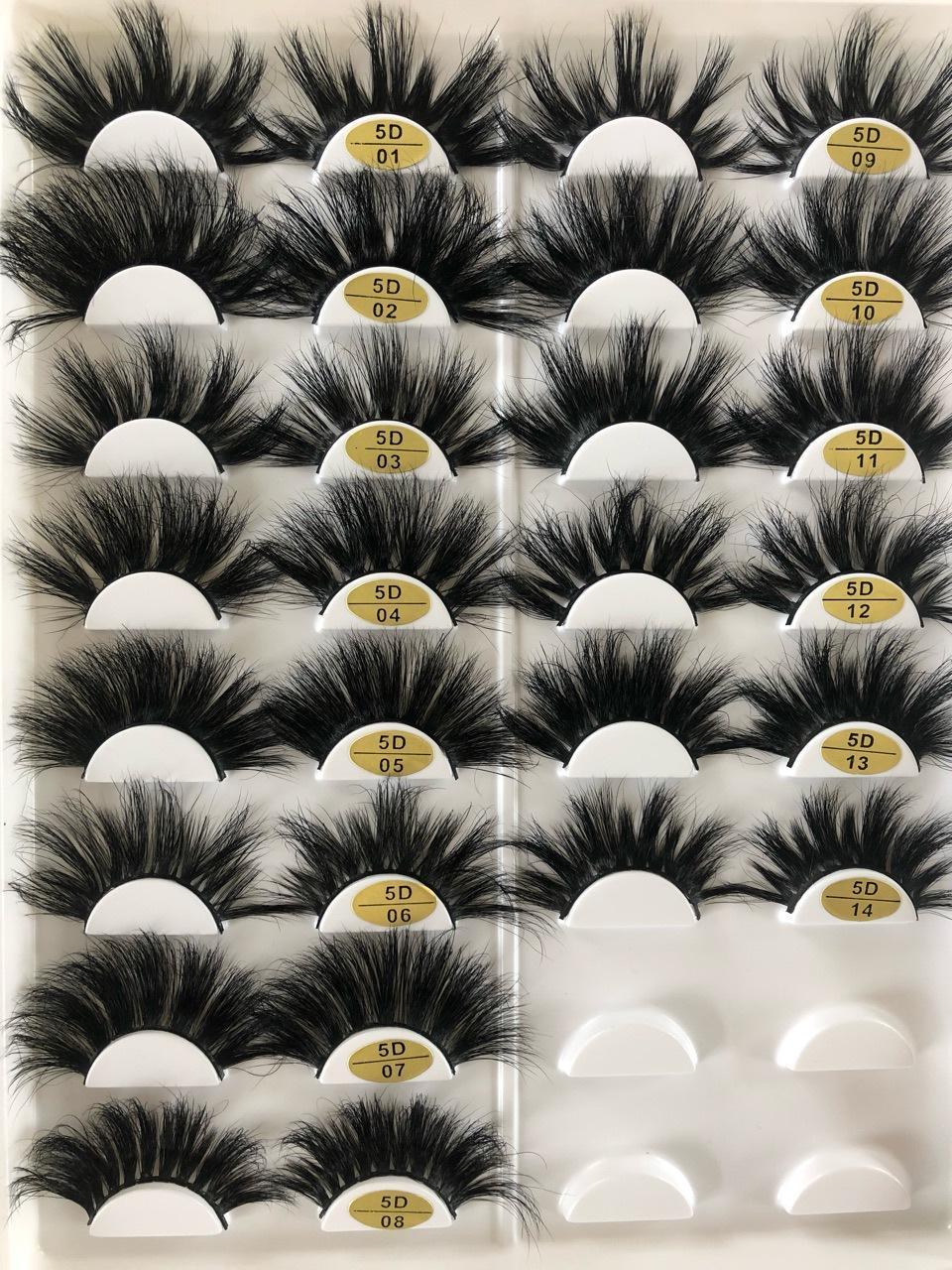 جديد 5D 25MM همية طويلة الرموش زوج واحد المنك الشعر الحقيقي جلدة سميكة رمش مبالغ فيه أدوات ماكياج 16 أنواع للاختيار