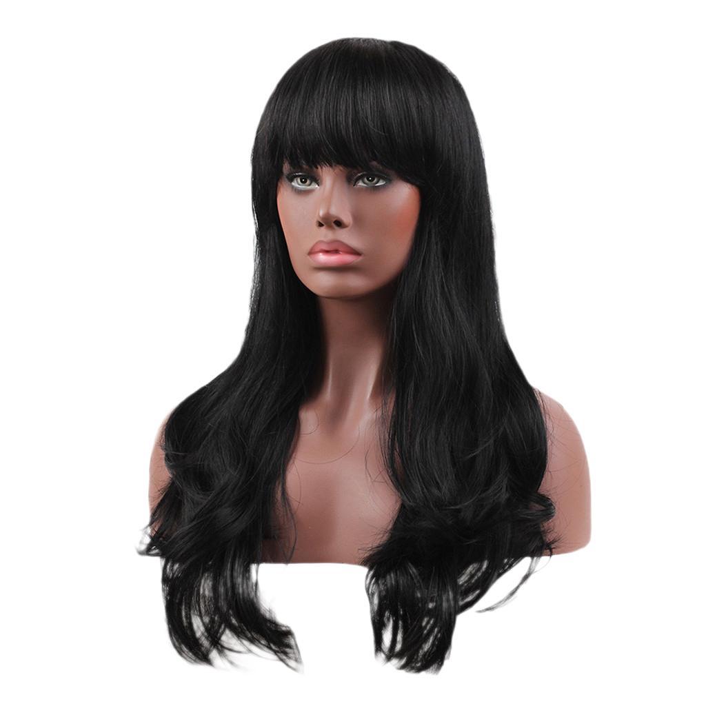100% reale Menschenhaar-Perücken mit Damencap Lange natürlich aussehender Wellenförmige Gerade Bang Mode und eleganten