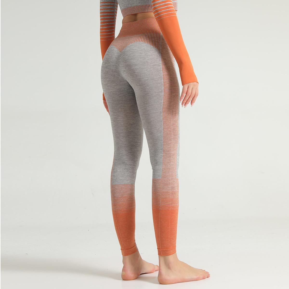 Sorunsuz Stripes Örgü Yoga Fitness Serisi Gao Bel Kalça Sıkı Fit Spor Yoga Pantolon Kadın Para