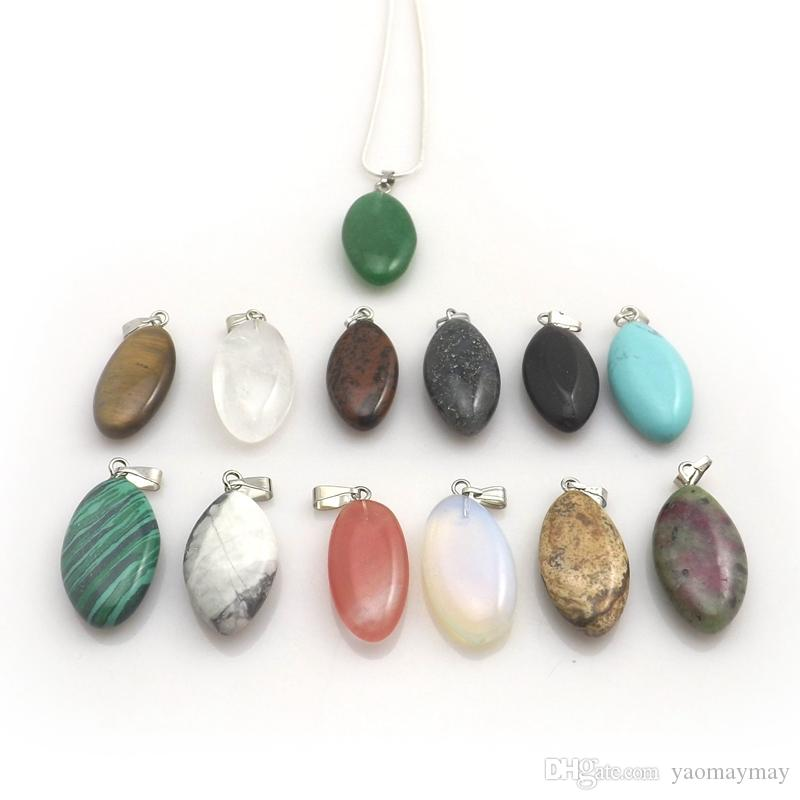 Mixed Lot Natural Stone Eye Shape Pendant Silver Color Chain Necklaces For Promotion 12pcs/lot