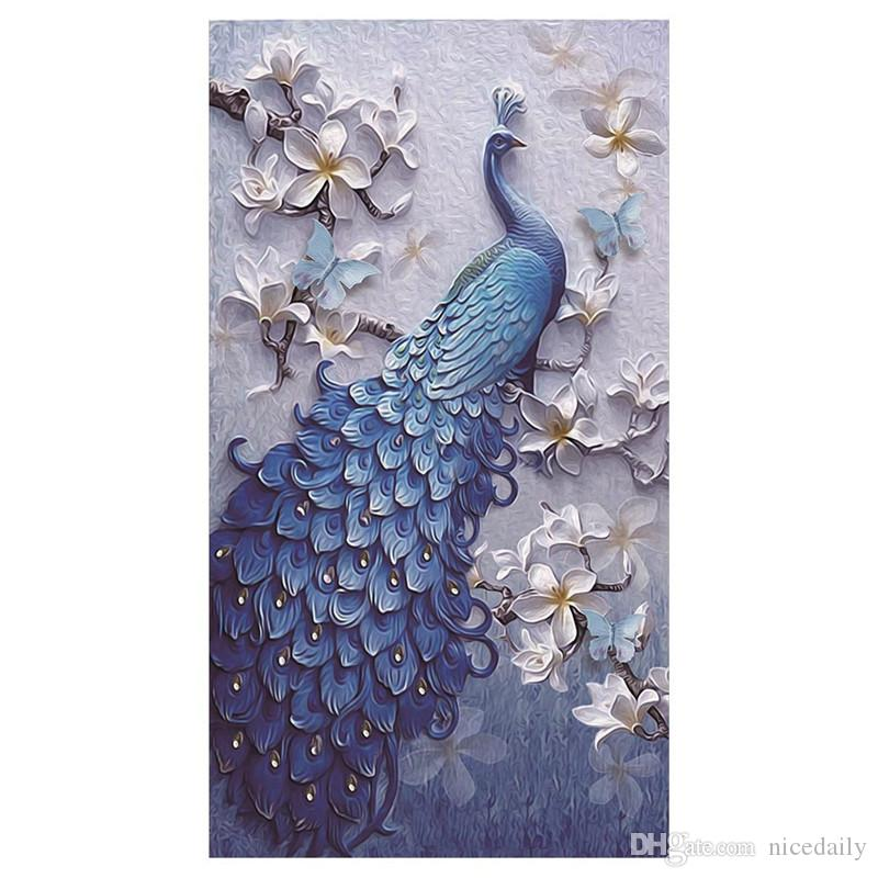 5D Pintura Diamantada por Kits de Números para Adultos Diamante Lleno Grande Lucky Bird Peacock Animal Bordado Inicio Decoración de la pared soporte al por mayor