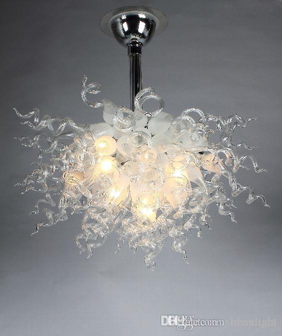 100% soffiato cristallo borosilicato Vetro di Murano lampadario lampadine LED Arte Classica di vetro bianca Chandelier Villa Hotel Luce domestica