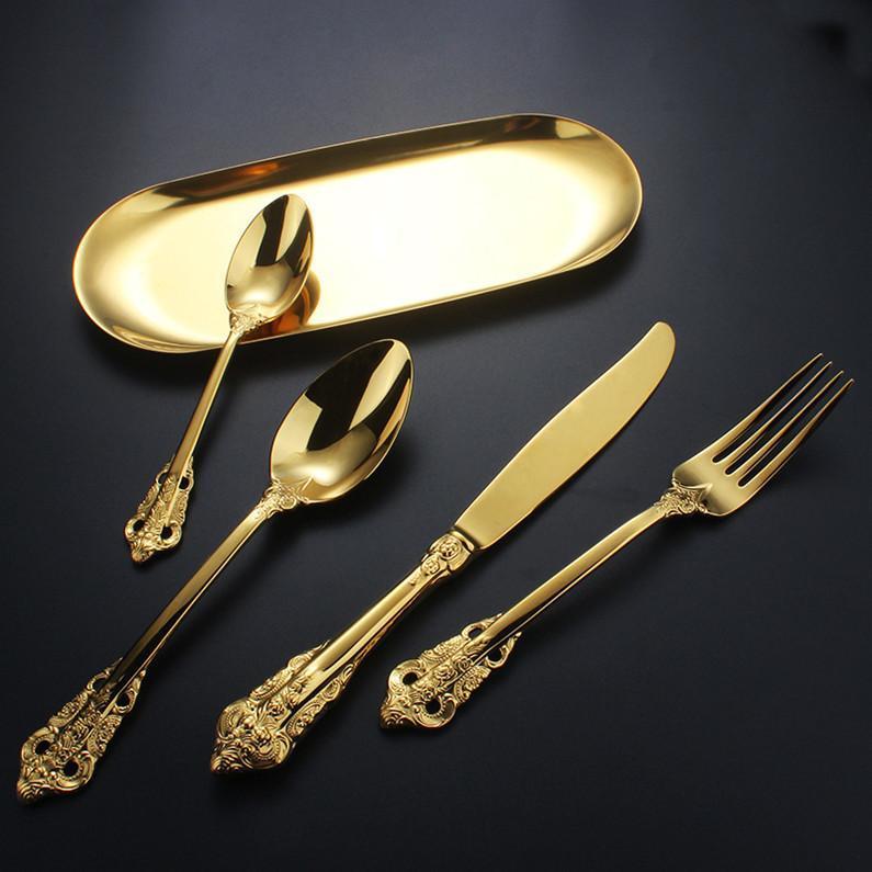 4PCS Europäischen Retro Besteckset Edelstahl-Messer, Gabel, Löffel Geschirr Set West Geschirr Set Steak-Messer-Gabel Küchenzubehör
