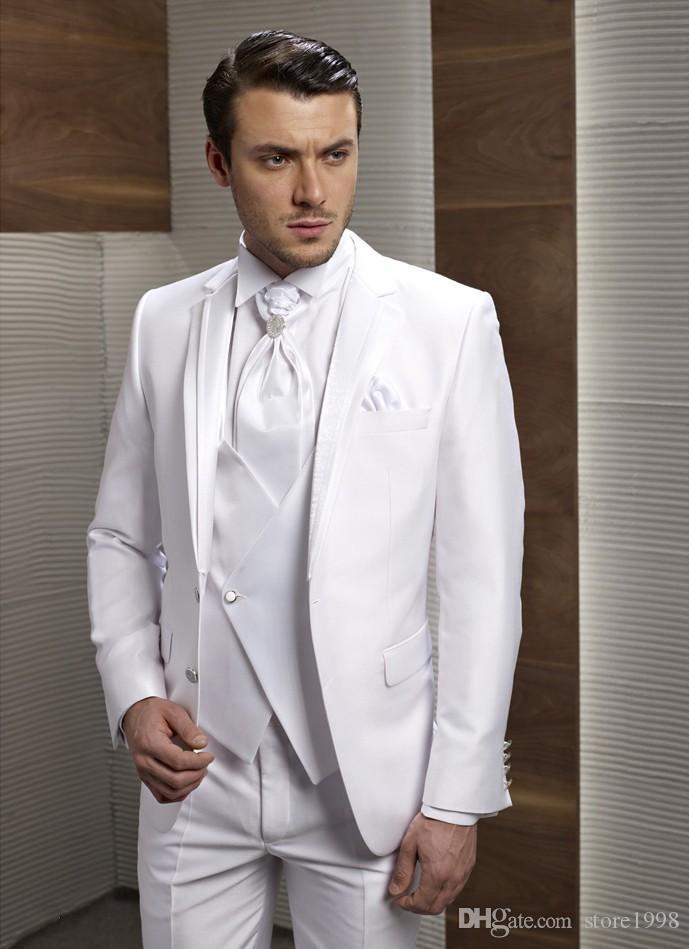 Fashionable Groomsmen Notch Lapel Groom Tuxedos White Men Suits Wedding/Prom/Dinner Best Man Blazer ( Jacket+Pants+Tie+Vest ) B245
