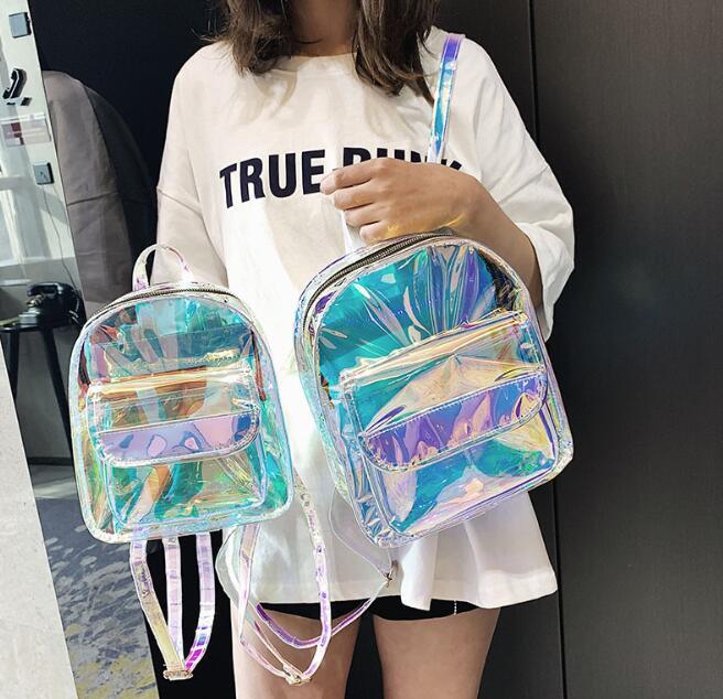 Конструктор женщины Лазерного рюкзак Мода Девушка Transparent Schoolbag лето Сумка Joker Женщина плечо рюкзак
