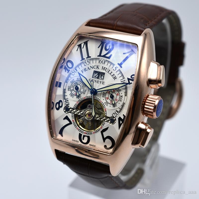 Женева роскошный кожаный ремешок турбийон механические часы мужчин дропшиппинг день дата каркасные автоматические часы мужчины подарки