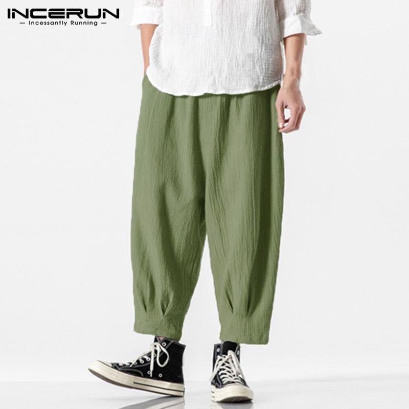 الرجال السراويل الرجال الأزياء الحريم مرونة الخصر الصلبة اللون pantalones رجل عارضة جيوب إسقاط المنشعب السراويل الرجعية ركض S-5XL Inceru