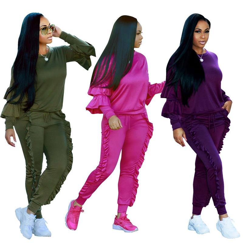 Wholesale-Women Plus Size 3XL Tracksuits Long Sleeve Casual Tops and Pants Suits Two Piece Pants Sets Outfit 8 Colors Ruffled Pant Sets