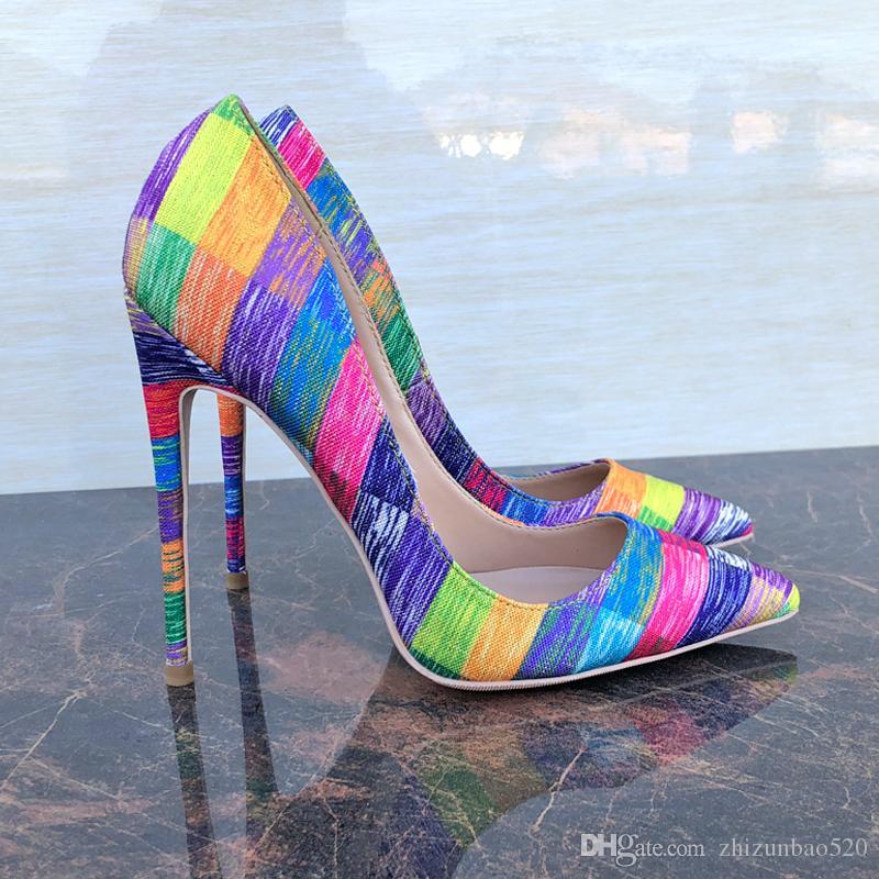 Повседневная дизайнер Sexy lady женская мода насосы острым носом многоцветный холст дизайнеры на высоких каблуках насосы 12 см 10 см 8 см шпильках новый