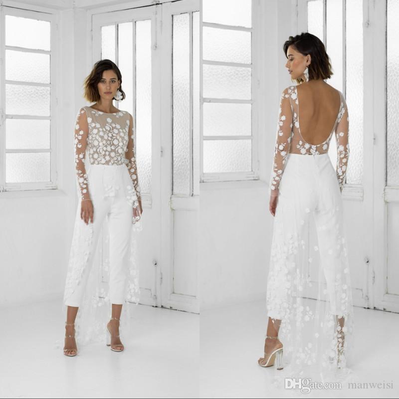 화이트 Jumpsuit 해변 웨딩 드레스 보석 목 긴 소매 백리스 발목 길이 신부 복장 레이스 여름 웨딩 드레스