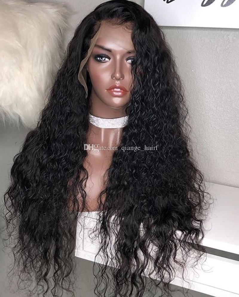 Brazilian Full Lace Human Hair Wig For Black Woman Water Wave Lace Front Virgin Hair Wig with baby hair