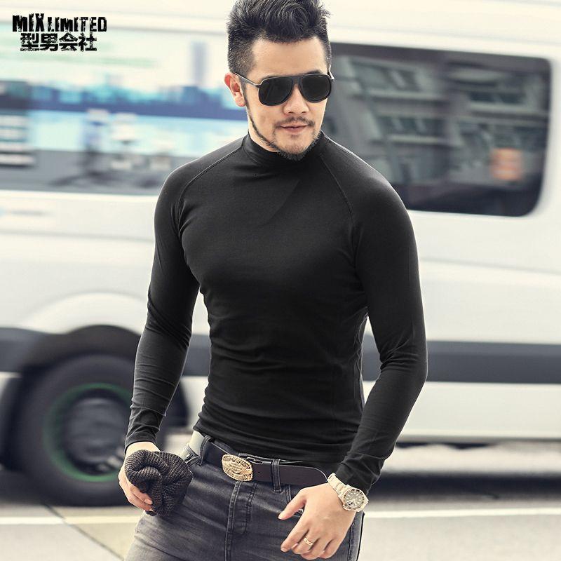 Pamuk Streç erkek Düz Renk Ince Uzun Kollu T-shirt erkek Rahat Yüksek boyun Dibe Sonbahar Avrupa Tarzı en Tees T931 SH190916