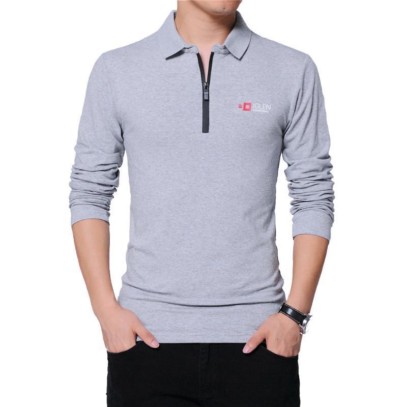TFETTERS Outono Mens Moda Zipper Collar Design Os homens T-shirt de algodão manga comprida T-visita a cor Sólidos T-shirt Homens Top