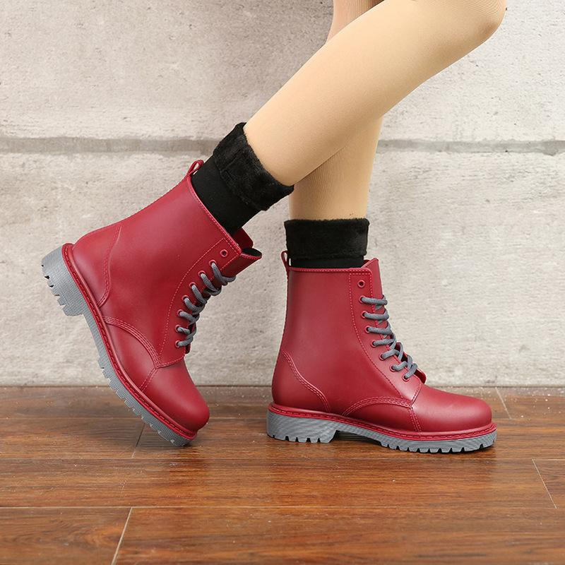 Women's Fashion Rainboots Waterproof Woman Mud Water Shoes Rubber Lace Up PVC Ankle Sewing Rain Boots plus size 44 MX200324