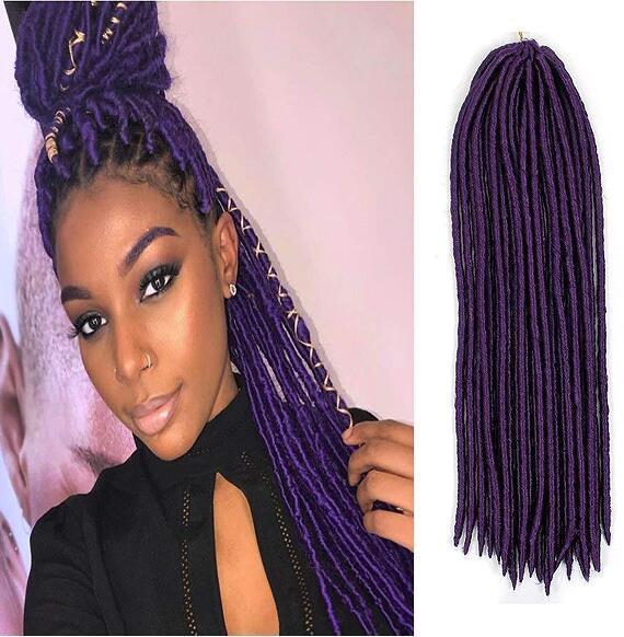 6 Packs Tête complète Dreadlocks Violet synthétique Extensions cheveux Crochet Tresses souple Faux Locs synthétique Tressage Dreadlocks Livraison express