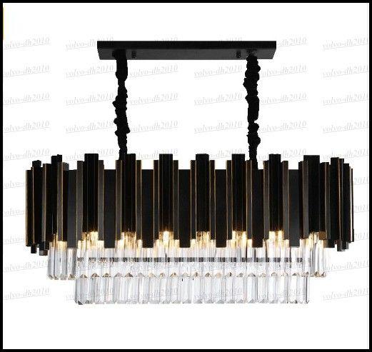 Luxury Modern Rectangle Crystal Chandelier Black Dining Room Hanging AC110-240V Lighting Fixtures LED Lustres De Cristal LLFA