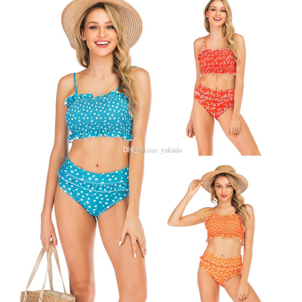 2019 Kadınlar seksi katlanmış lotus kenarı ile yüksek bel Bikini Mayo Baskı Bikini yüzme, mayo esnek şık, satılık online mağaza
