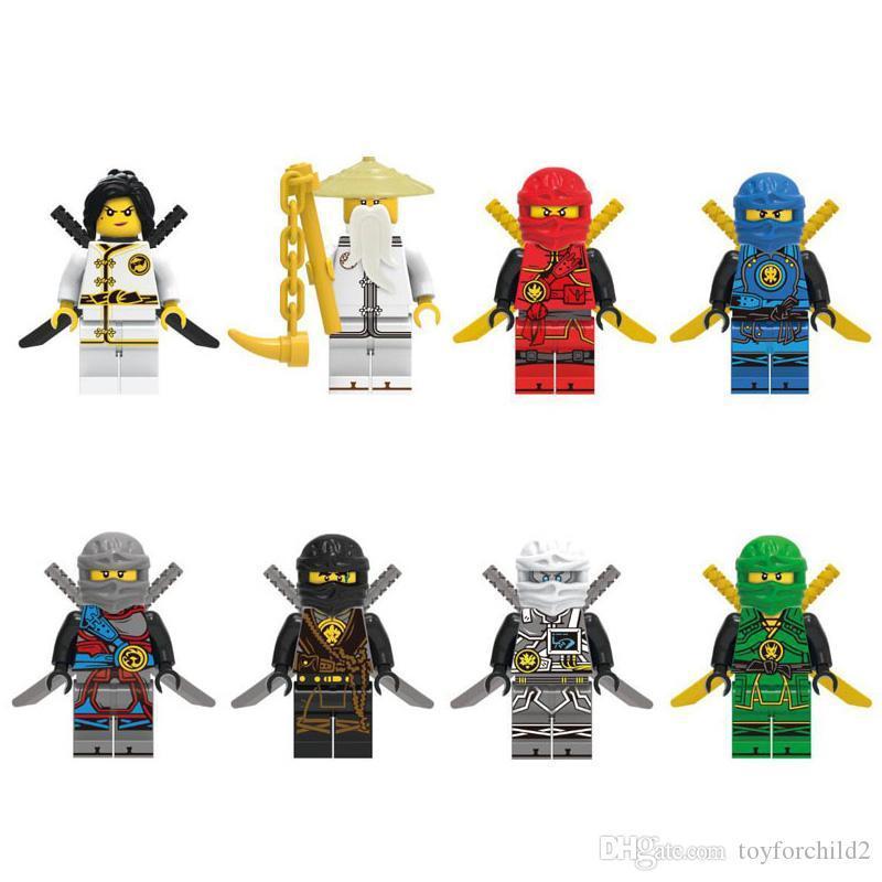 Nouvelle arrivée de Spinjitzu Sensei Wu Kai Jay Nya Lloyd Cole Ninja Figure avec des épées Building Block Toy
