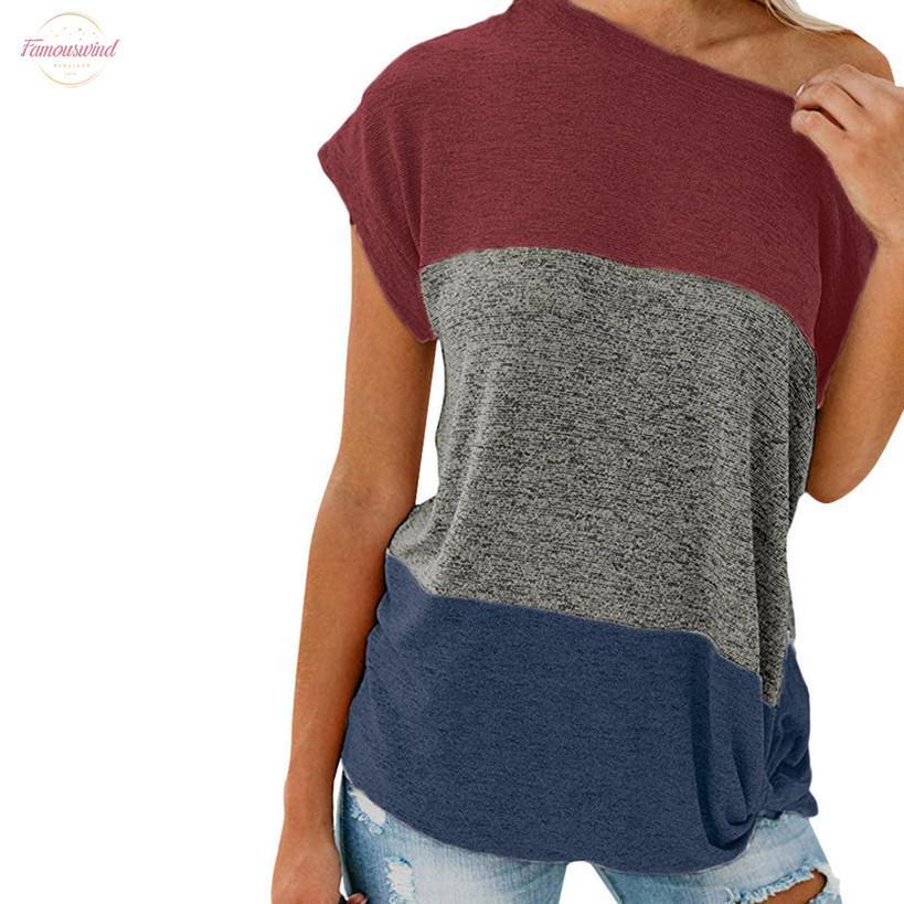 Più le donne la camicetta superiore Camicie colori a contrasto sexy Skew Collo Shohrt manica Blusas Stitching annodata spalle Womens Top