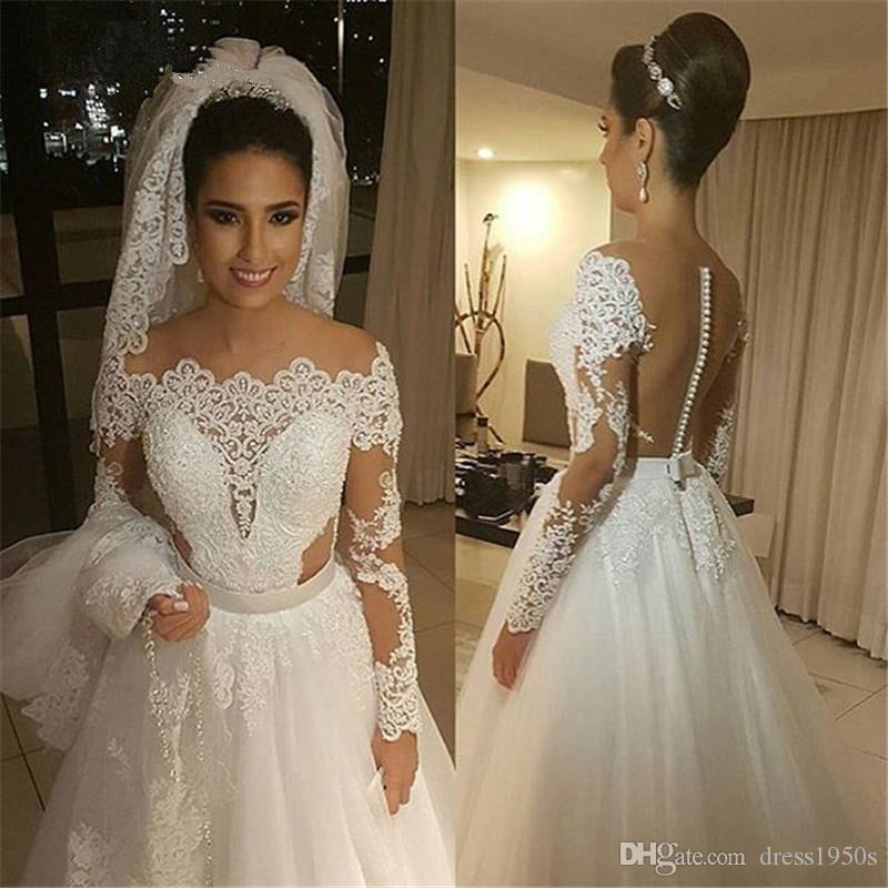 See Through Vestido De Noiva Vestidos de novia musulmanes Una línea de perlas de encaje de tul Vintage Dubai Vestido de novia árabe nupcial