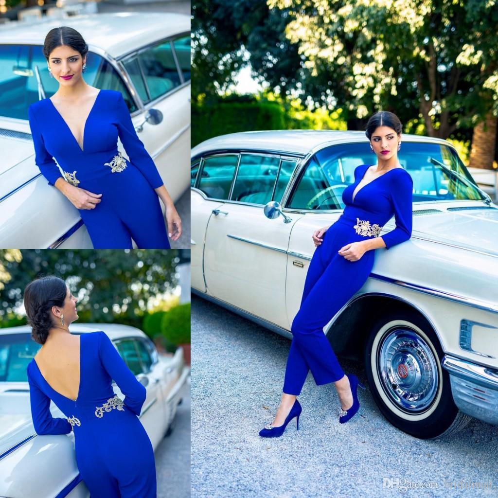 Bleu royal Satin Longue Robes De Bal Femmes Combinaisons Col V Dos Nu Manches Longues Robes De Soirée Appliques Dubaï Arabe Occasion Spéciale Robe