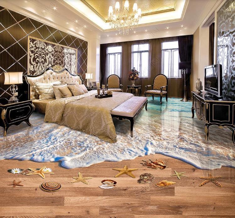 Costumbre decoración grande de la resaca 3D suelos playa salón cocina habitación baño de pintura sobre antideslizante y auto baja adhesiva impermeable de PVC