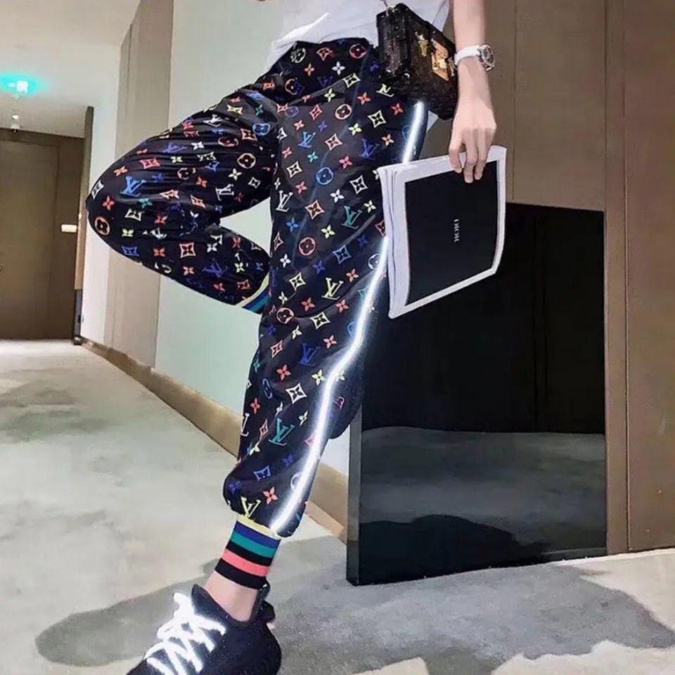بنطلون للمرأة بارد عارضة ساخنة مرونة الحارة أزياء العلامة التجارية مثير سروال عارضة ارتفاع الخصر السراويل الساق واسع