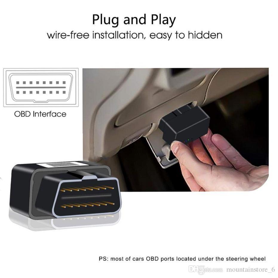 Neu Plug Play OBD GPS Tracker mit ACC-Erkennung Vibrationsalarm Plug Out Alarm Mini Car Tracker
