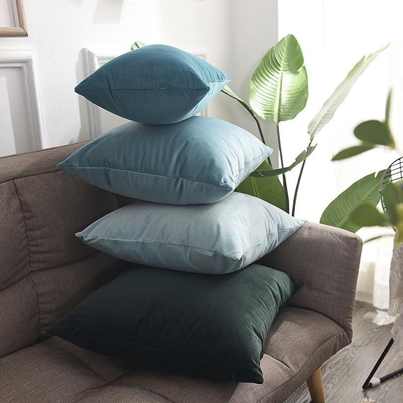 45 * 45cm Luxury Blue Velvet Kissenbezug Kissenbezug Kopfkissenbezug Grün Gelb Rosa Grau Weiß Schwarz Dekorative Sofa Werfen Kissen
