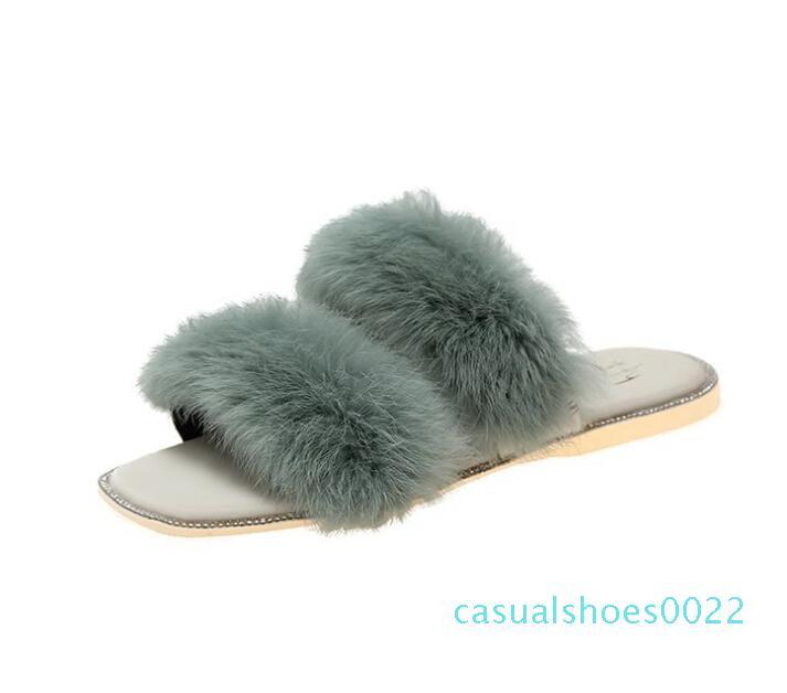 Bir kelime giyen vahşi elmas taklidi kare başının net kırmızı kürk Ayakkabılar terlik kadın sonbahar ve yaz yeni Kore versiyonu sandalet wholesa C22