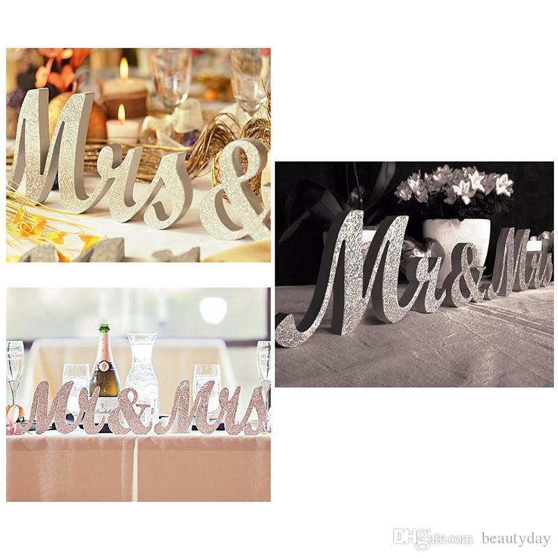빈티지 디자인 영어 편지 Mrmrs 나무 결혼식 배경 장식 반짝이 골드 실버 선물 테이블 중심 장식 1 세트