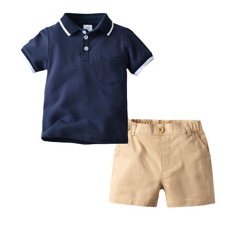 2 pcs Set Baby Boy Clothes Short Sleeved Solid Color POLO Shirt With Casual Shorts Male Baby Two-piece Suit Kids Clothes