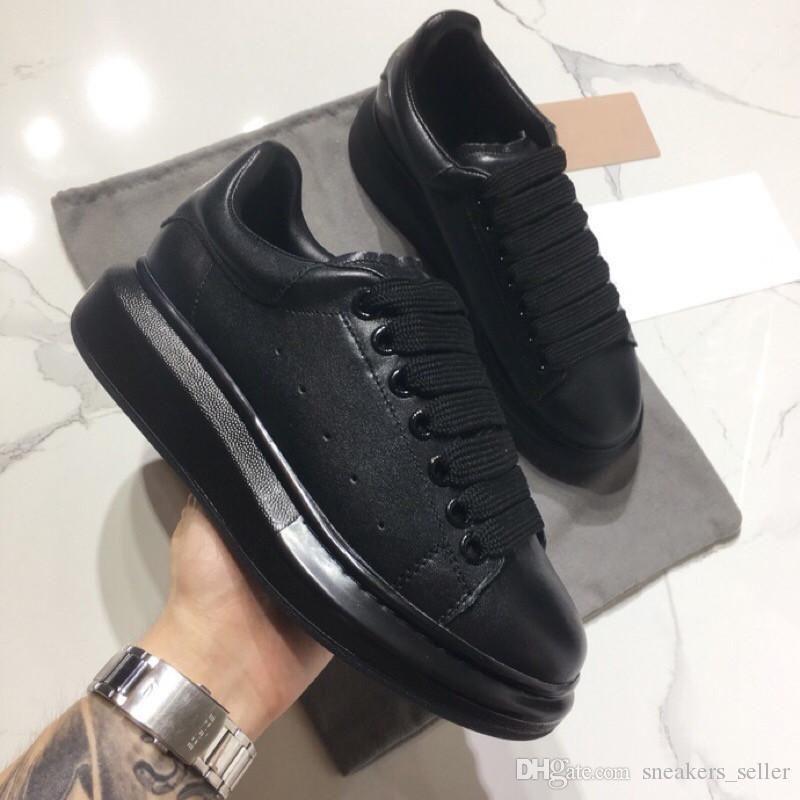 2019 Designer sneakers Casual pour les femmes et les hommes lacées en cuir véritable Chaussures plates Casual Noir Rouge Rose Chaussures de sport
