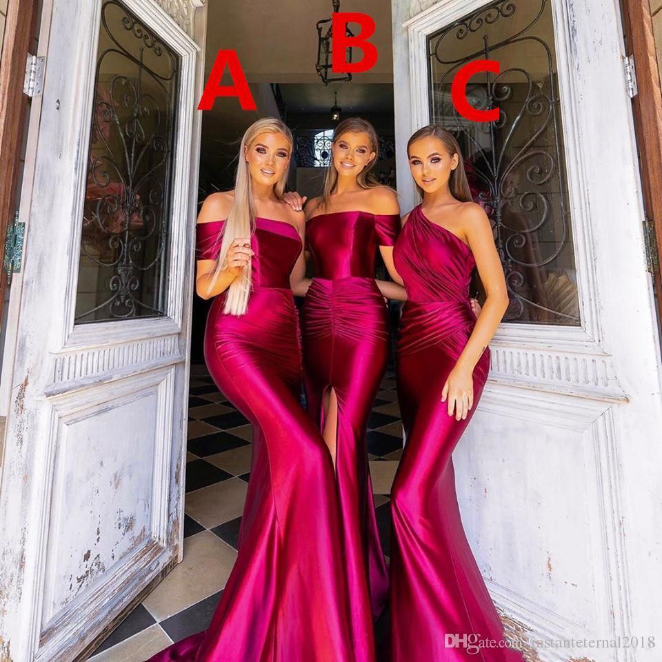 Elegant Off shoulder Mermaid Bridesmaid dresses With Pleats sexy Side split Custom Made Wedding guest dresses 2020