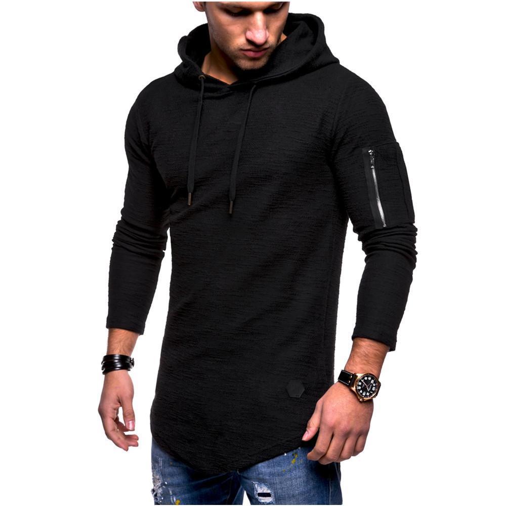 Moda com Capuz Men Jacket Causal Casacos Outono e inverno jacquard em torno do pescoço com capuz de mangas compridas braço zíper costura vento camisola longa