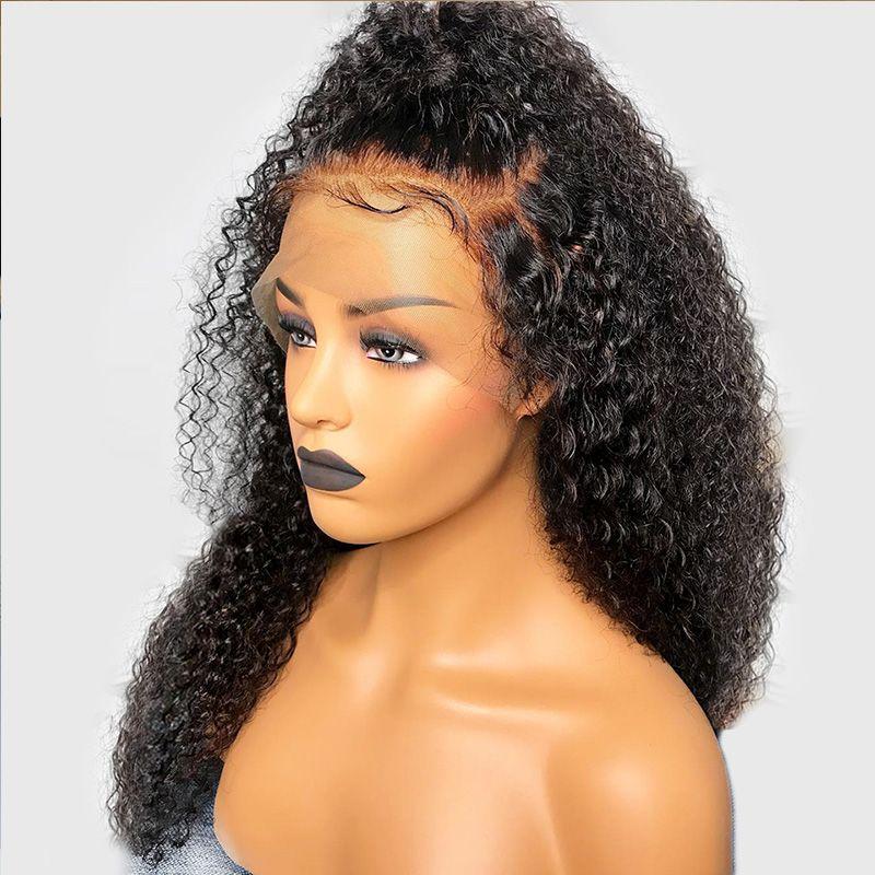 13x6 profonda dei capelli del merletto dei capelli anteriore Coda di cavallo parrucche con Bambino Pre pizzico Afro crespo ricci umano Parrucche del Virgin del brasiliano per Black Women