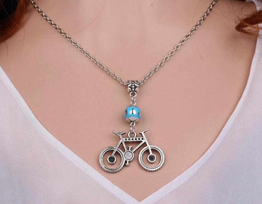 Bike Bicycle Necklace Pendant Vintage Silver Charm Choker Collar Acrylic Beads Statement Necklace Color Mixing Women Jewelry Accessories