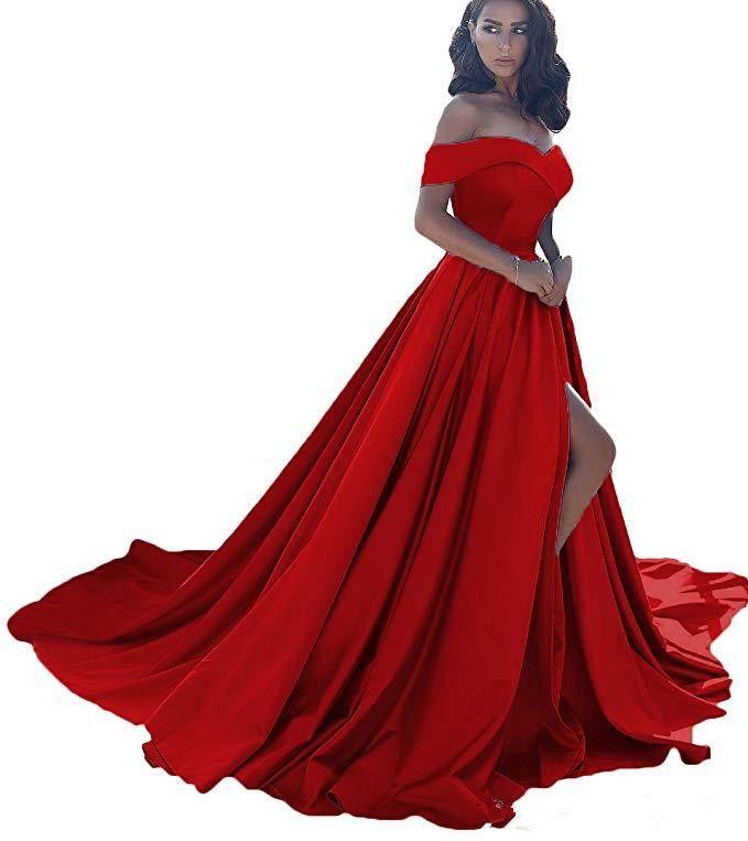 Dark Red Off The Shoulder Long Satin Evening Dresses 2019 Sexy High Split V-Neck Prom Gowns Vestidos De Fiesta
