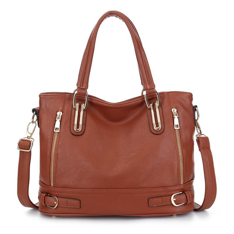 Sacs à main en cuir véritable de luxe de femmes épaule Sacs fourre-tout rivet zipper sac message sac de mode femme